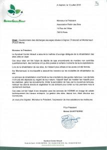 Courrier-réponse du Syndicat Centre Hérault