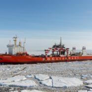 An atomic merchant ship is zigzagging towards Antarctica