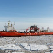 An atomic merchant ship is zigzagging towards Antarctica